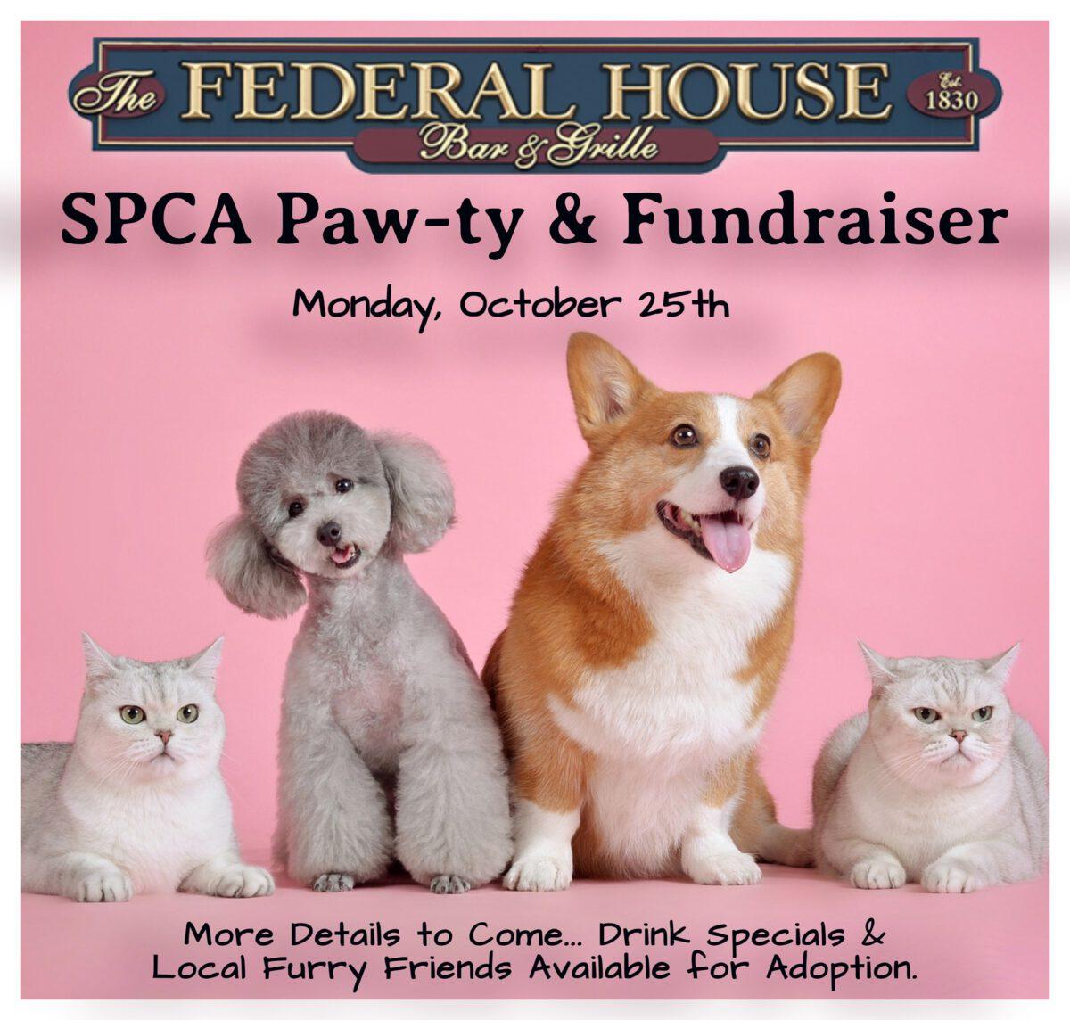 Federal House SPCA Pawty & Jim Beam Fundraiser – 10/25